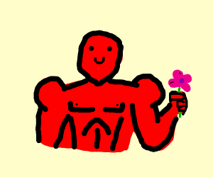 Buff red man holds flower