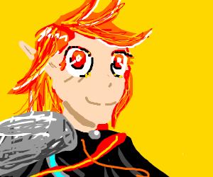 cheerfull redhead anime person