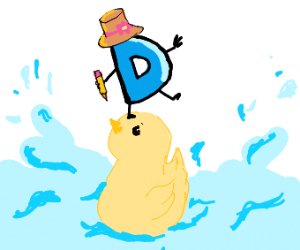 Drawception with a hat on a duck