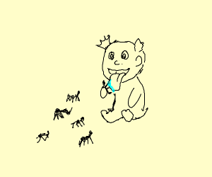 Baby licking ants
