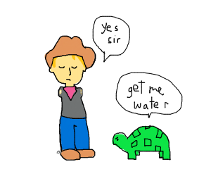 cowboy without arms is slave to a turtle