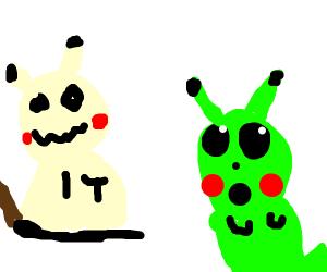 Mimikyu meets the Surprised Pikachu meme