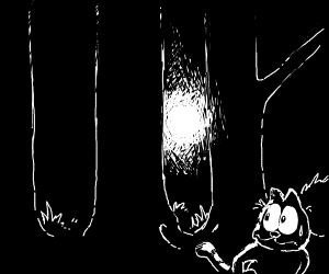 garfield terrified of flashlight in forest