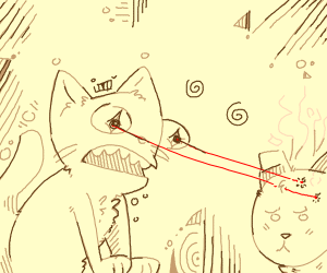 cat with laser-eyes