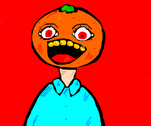 A man with an orange for a head