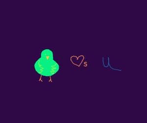 Green Bird Loves You