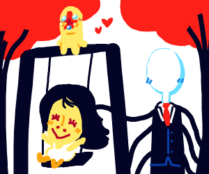 slenderman pushes his daughter on a swing