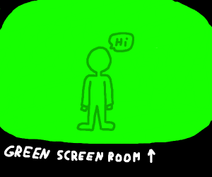 man wearing green in front of green screen