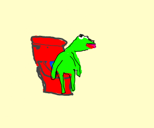 Kermit sits on red toilet seat
