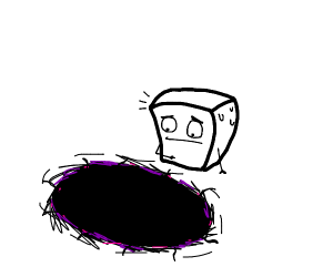Blocky head found a blackhole at floor