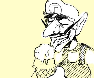 An ice-cream licking a human