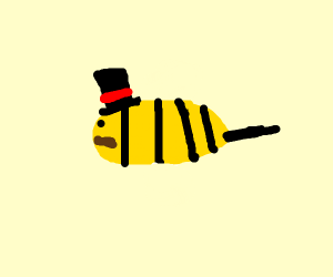 A fancy bee with a top hat and moustache