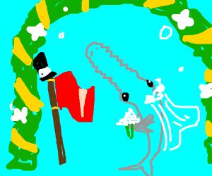 Sawfish marrying Flag