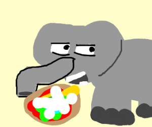 Elephant secretly eating mouldy pizza