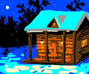 cabin in the winter woods