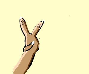 3-fingered-hand doing the peace sign