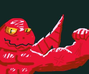 dragon with a buff arm