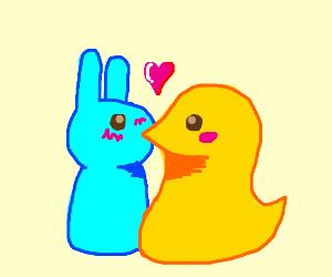 Bunny and Peep kissing