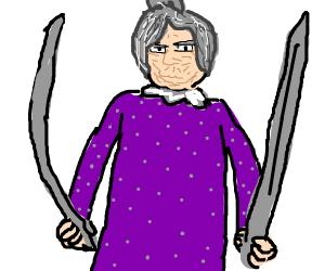 Crazy Grandma With Swords