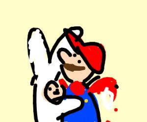 Rabbit hugs Mario