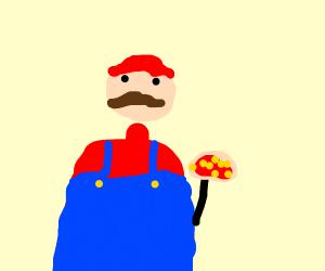 Mario delivers pizza
