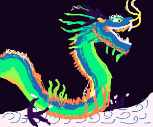 A dragon on the way to a castle