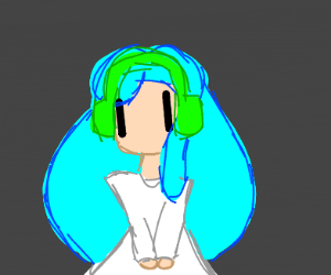 kid with blue hair and green headphones