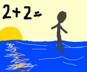 2+2=man walking on the ocean