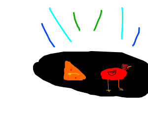 black hole with red bird and dorito
