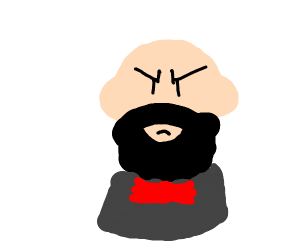 Angry bearded man in dashing red bowtie