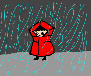 someone in a red coat in the rain
