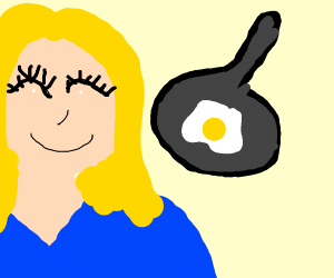 Blonde woman with big lashesmaking fried eggs