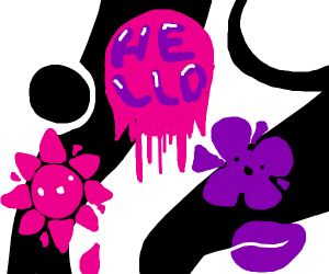 "Pink and purple flower says "" hello ""  (Hi!!)"