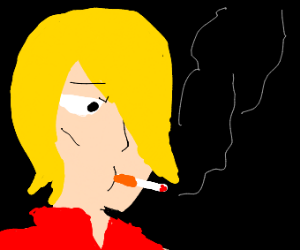 Handsome and yellow grunge dude smoking