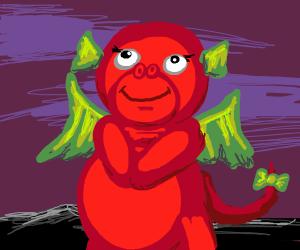 Adorable orange dragon
