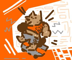 Skateboarding werewolf