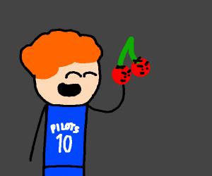 man eating false cherries
