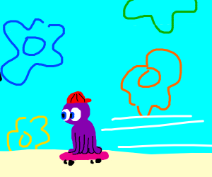 octopus skateboarding in the bikini bottom