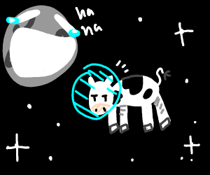 Moon laughing at cow