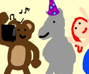 Fun w/ a monkey, donkey, & topless redhead