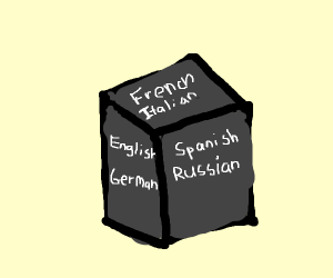 A cube with 6 different languages