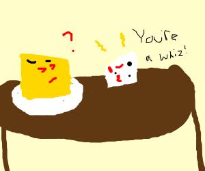 swiss cheese tells cheddar hes a whiz kid