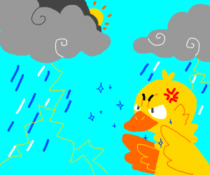 angry duck controls the weather
