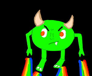 Angry green snot monster flying in space