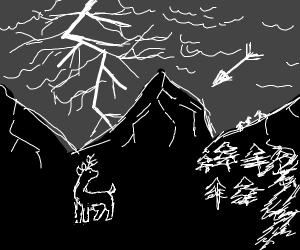 Gothic landscape, feat. deer, lightning&arrow