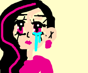 POC anime girl with black hair and pinkStripe