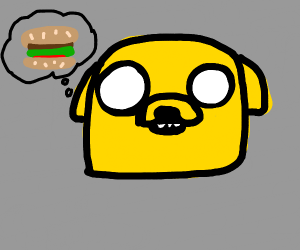 Jake the dog thinks about burgers