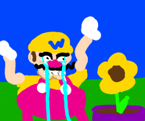 Wario is upset at a yellow plant