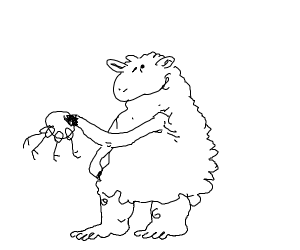 A sheep with keys