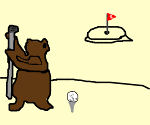 bear playing golf